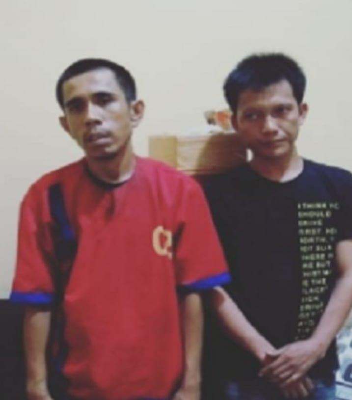 Oknum ASN di Labuhanbatu dan temannya yang ditangkap karena memiliki sabu.