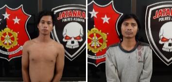 Kedua tersangka pencuri sepedamotor di Asahan.