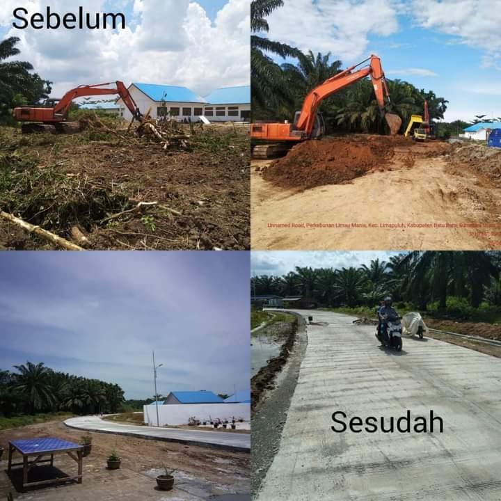 Kondisi Akses jalan ke RSU Batubara dan SMKN 1 sebelum dan setelah diperbaiki.