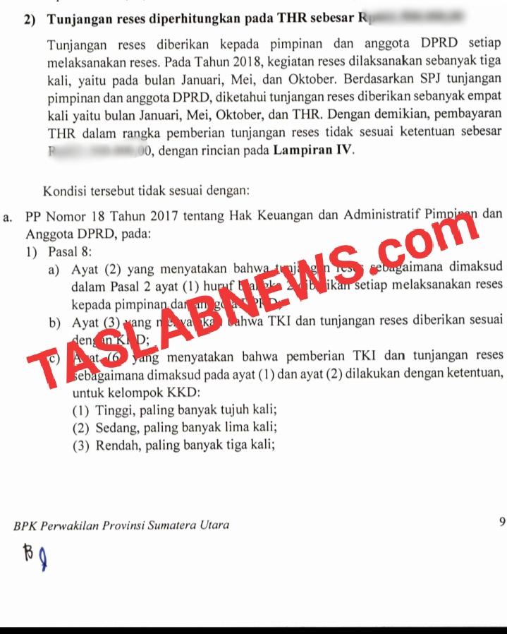 Bukti kelebihan pembayaran tunjangan reses 45 anggota DPRD Asahan sesuai temuan BPK.
