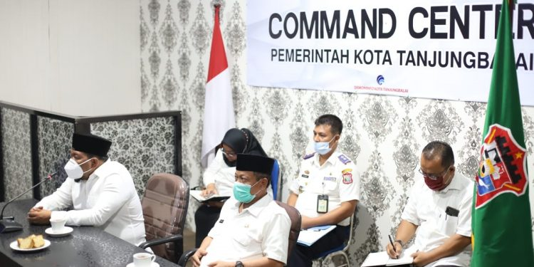 Suasana rakor virtual rencana pembentukan TP2DD Kota Tanjungbalai.